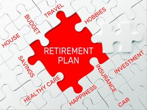 Jigsaw puzzled with finance words; retirement plan is missing piece. Represents 4 percent rule