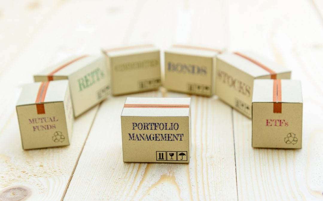 Boxes marked portfolio management, mutual funds, bonds, stocks, etc., show different parts of a financial portfolio for story about advantages of mutual funds.